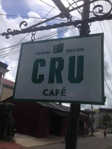 Cru Cafe - one of the best meals of the trip, and a delish Rose'!